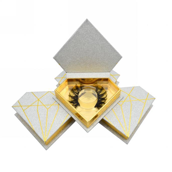 Argent glitter Eyelash Packaging diamond shape box