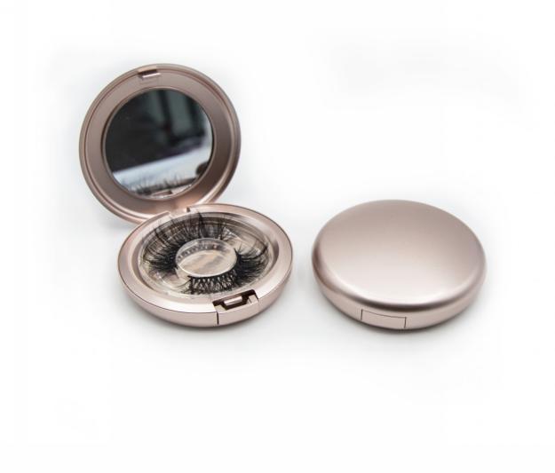 Rose Gold  plastic round eyelash box custom logo with Mirror