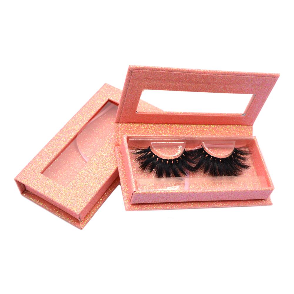 pink glitter paper Eyelash Packaging diamond shape box