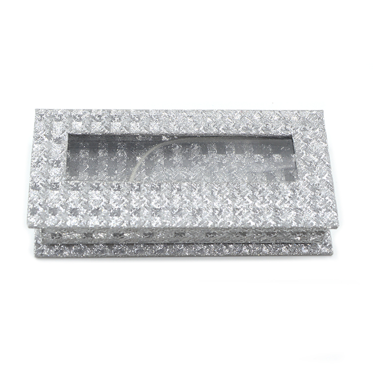 argent glitter paper rectangular lash box with window (1)