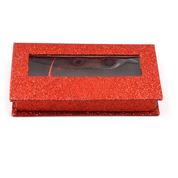 Luxury red glitter paper rectangular lash box with window- (2)