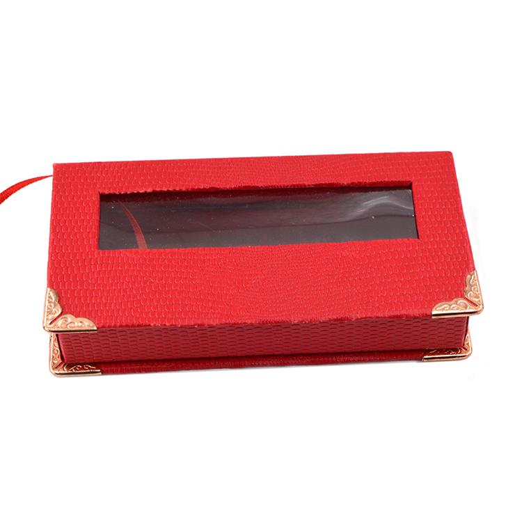 Red lash box and gold corner with rectangular window - (1)
