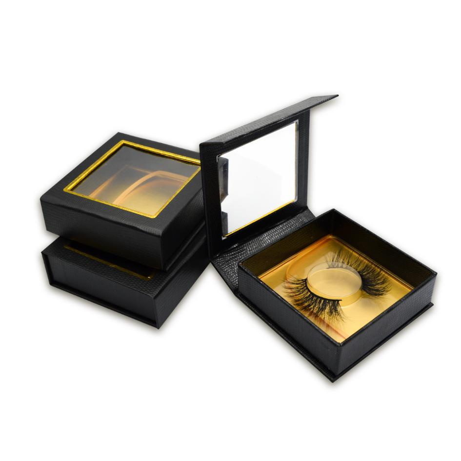 Luxury black square lash box with Square big window