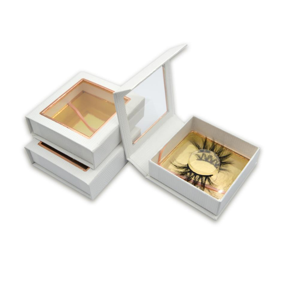 Luxury white square lash box with Square big window