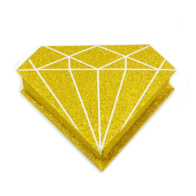 Gold glitter Eyelash Packaging diamond shape box (1)