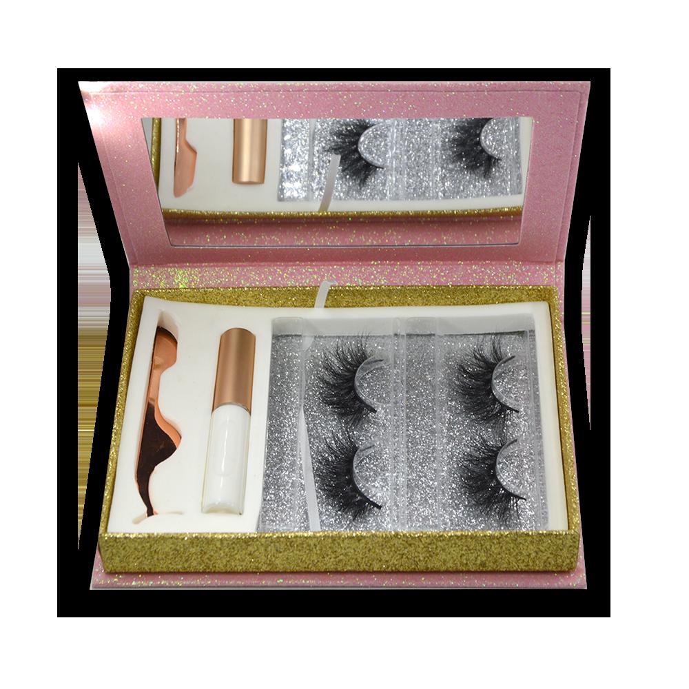 pink glitter paper Eyelash Gift Box Set With Eyelash glue and eyelash tweezers- (3