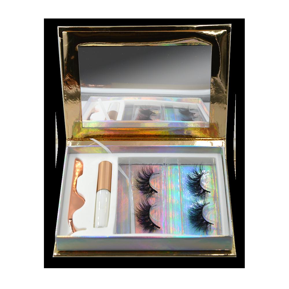 gold Eyelash Gift Box Set With Eyelash glue and eyelash tweezers- (2