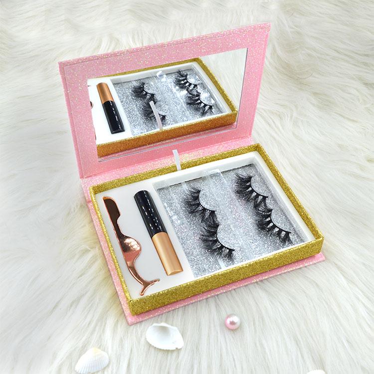 pink glitter paper Eyelash Gift Box Set With Eyelash glue and eyelash tweezers- (1)