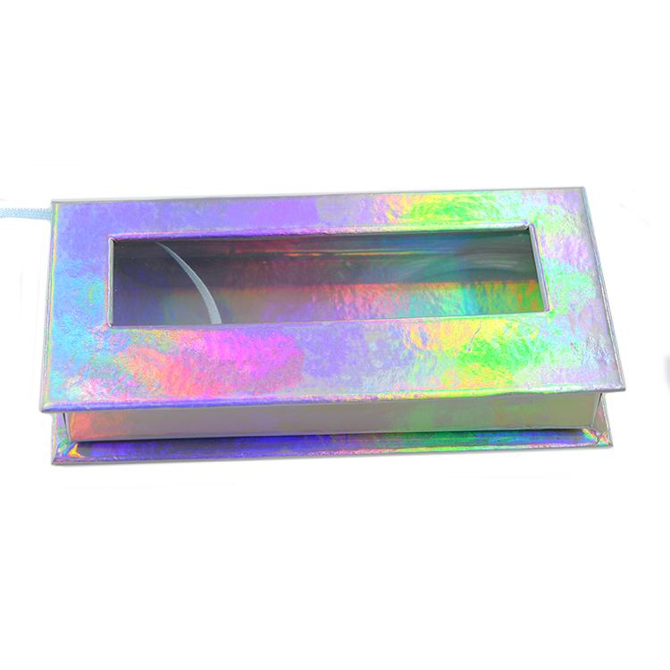 Holographic paper rectangular lash box with window