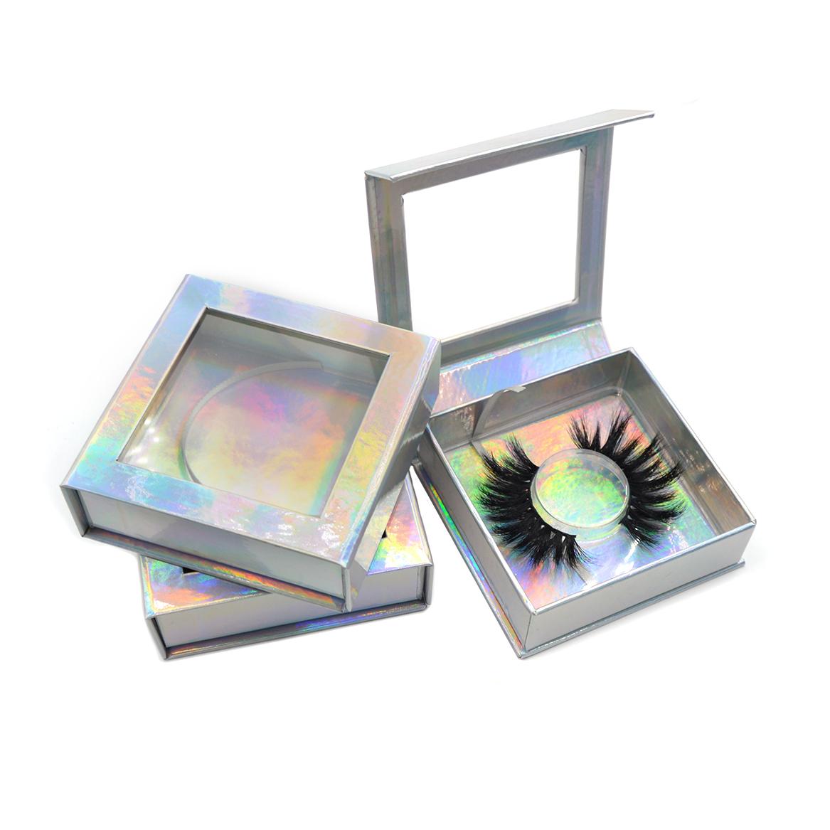 Luxury holographic square lash box with Square big window