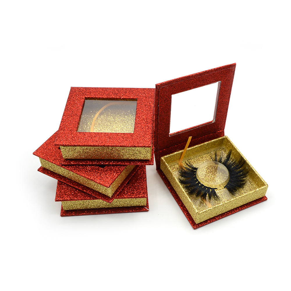 Red glitter paper square eyelash box with square small window