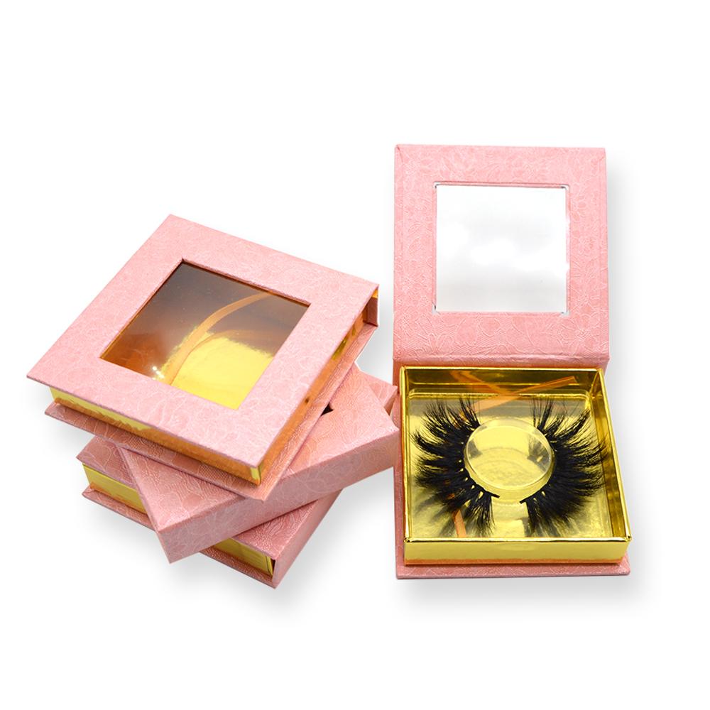Pink print square lash box with square small window