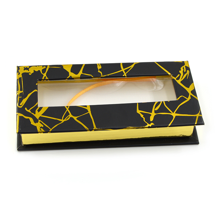 Black and gold marble paper rectangular lash box with window-1