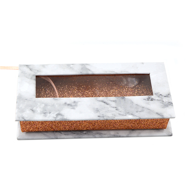 White marble paper rectangular lash box with window (1)