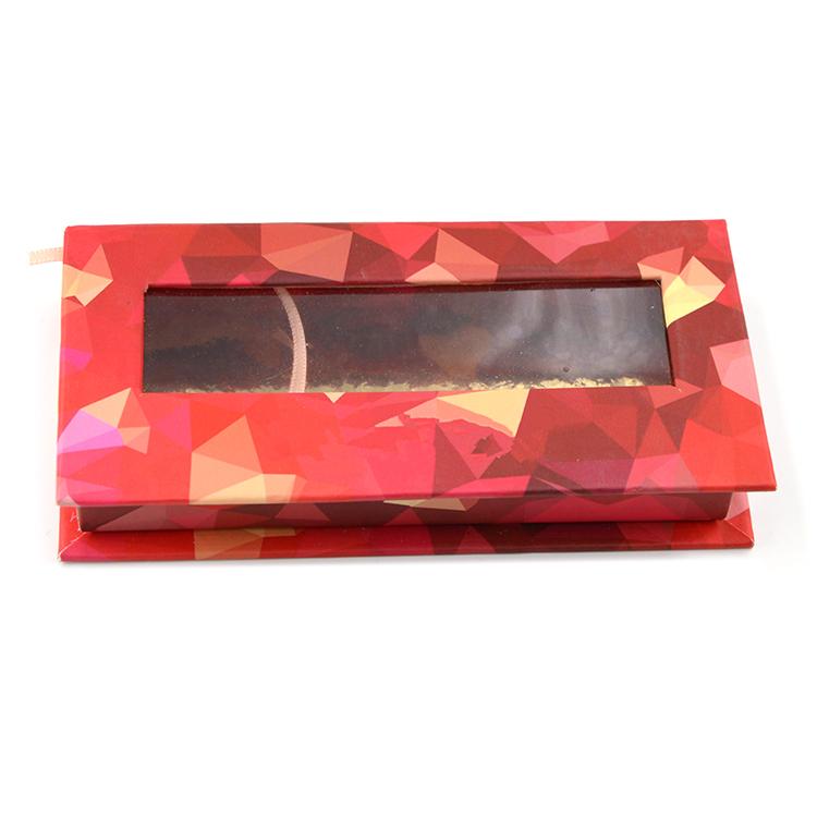Custom red rectangular lash box with window (1)