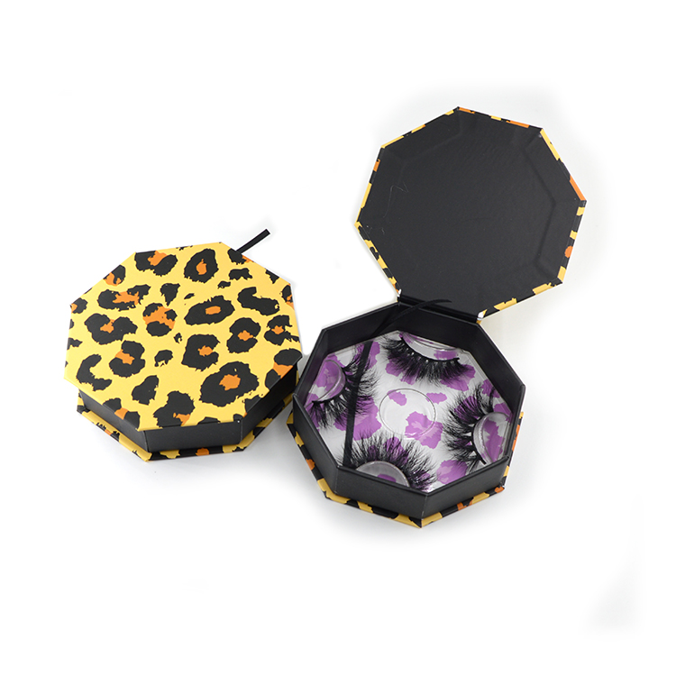 leopard print boxes octagonal shape front view and open view
