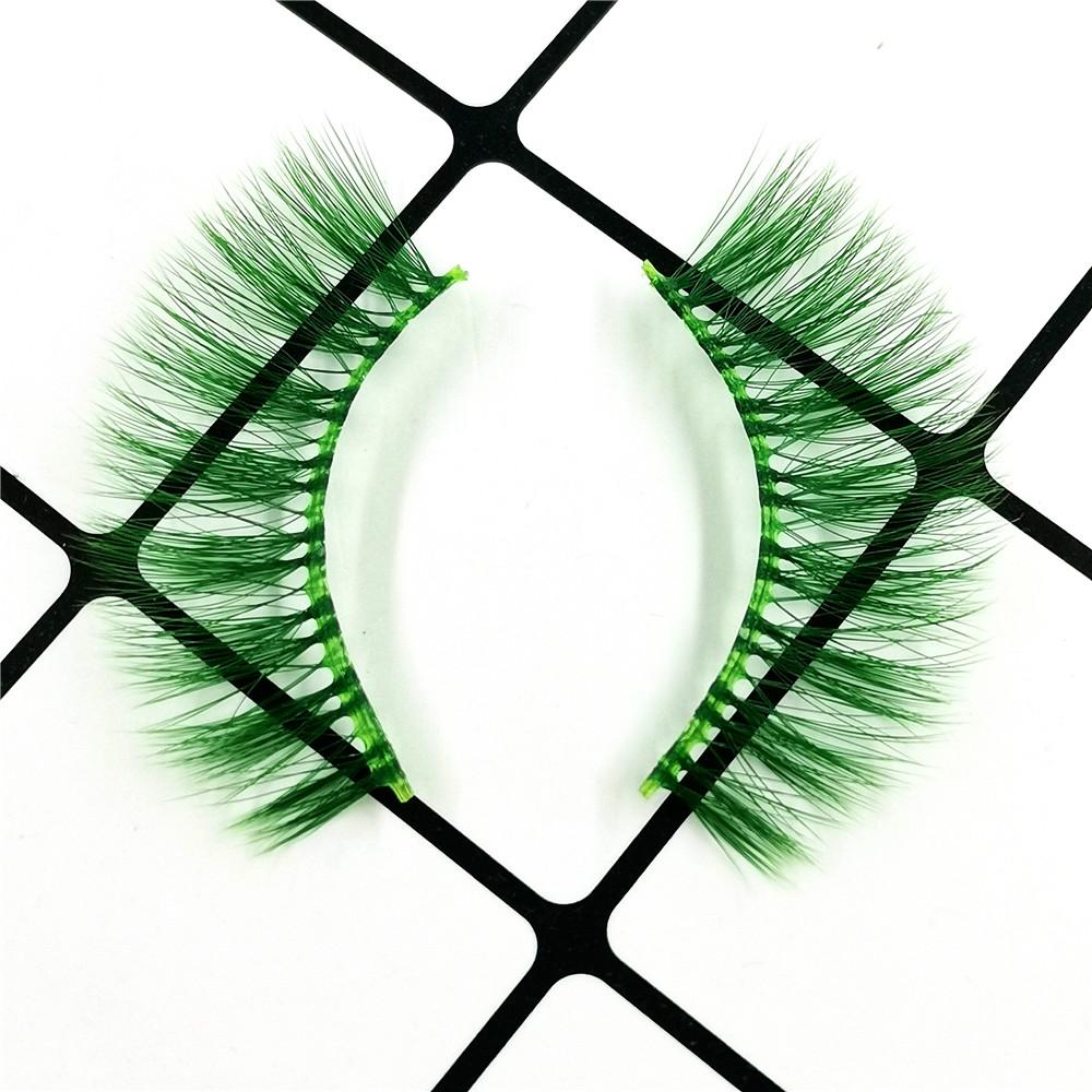 Green Colored 3D Silk Eyelashes