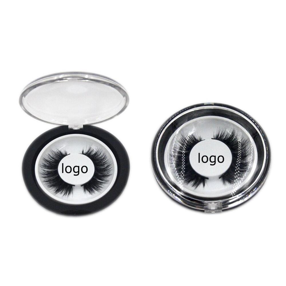 Black plastic round eyelash box custom logo (1)